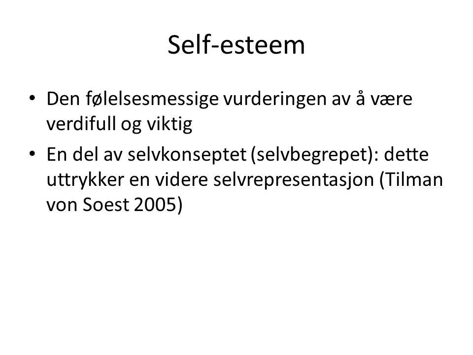 Self-esteem Den følelsesmessige vurderingen av å være verdifull og viktig.