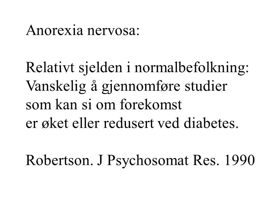 Anorexia nervosa: Relativt sjelden i normalbefolkning: Vanskelig å gjennomføre studier. som kan si om forekomst.