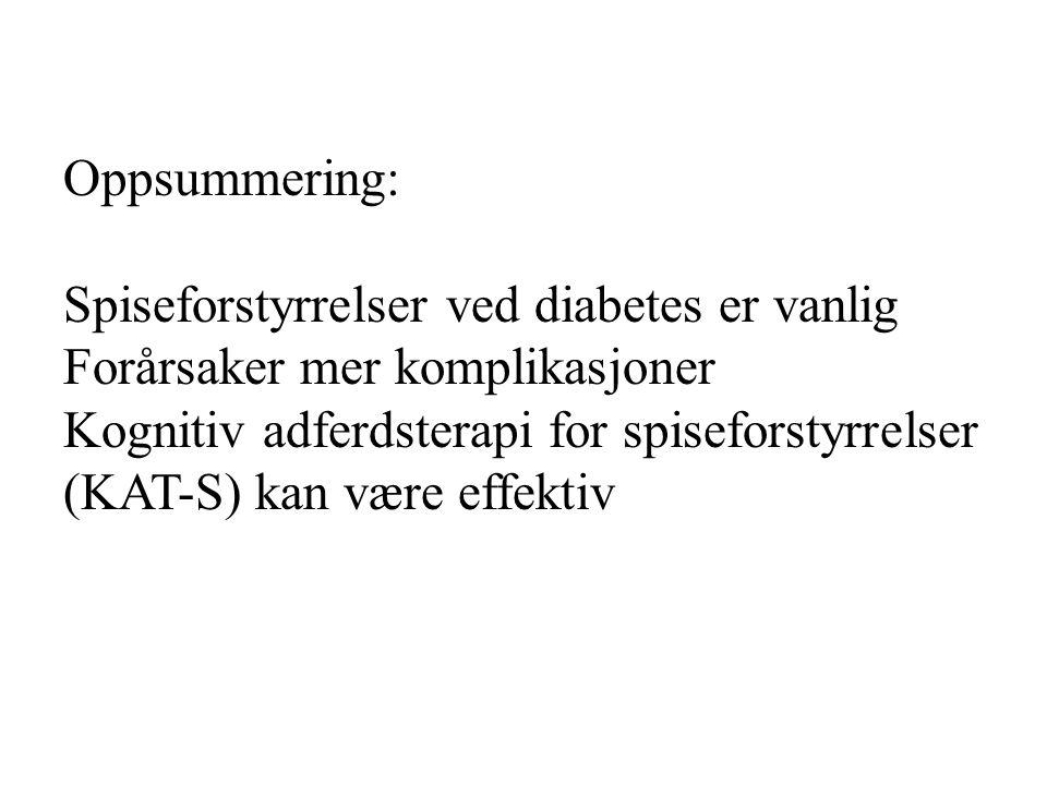 Oppsummering: Spiseforstyrrelser ved diabetes er vanlig. Forårsaker mer komplikasjoner. Kognitiv adferdsterapi for spiseforstyrrelser.