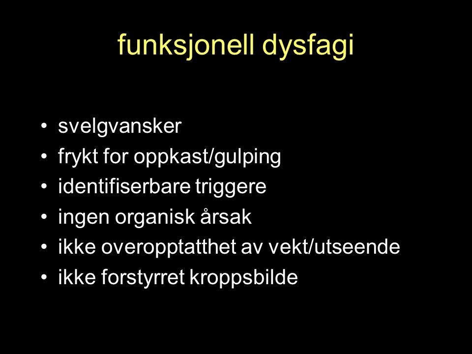 funksjonell dysfagi svelgvansker frykt for oppkast/gulping