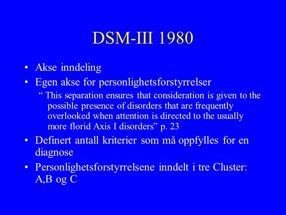 DSM-III 1980 Akse inndeling Egen akse for personlighetsforstyrrelser