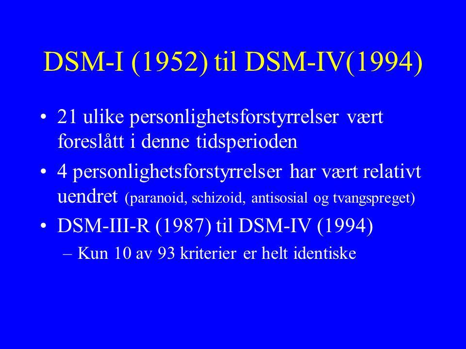 DSM-I (1952) til DSM-IV(1994) 21 ulike personlighetsforstyrrelser vært foreslått i denne tidsperioden.