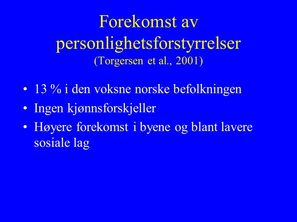 Forekomst av personlighetsforstyrrelser (Torgersen et al., 2001)