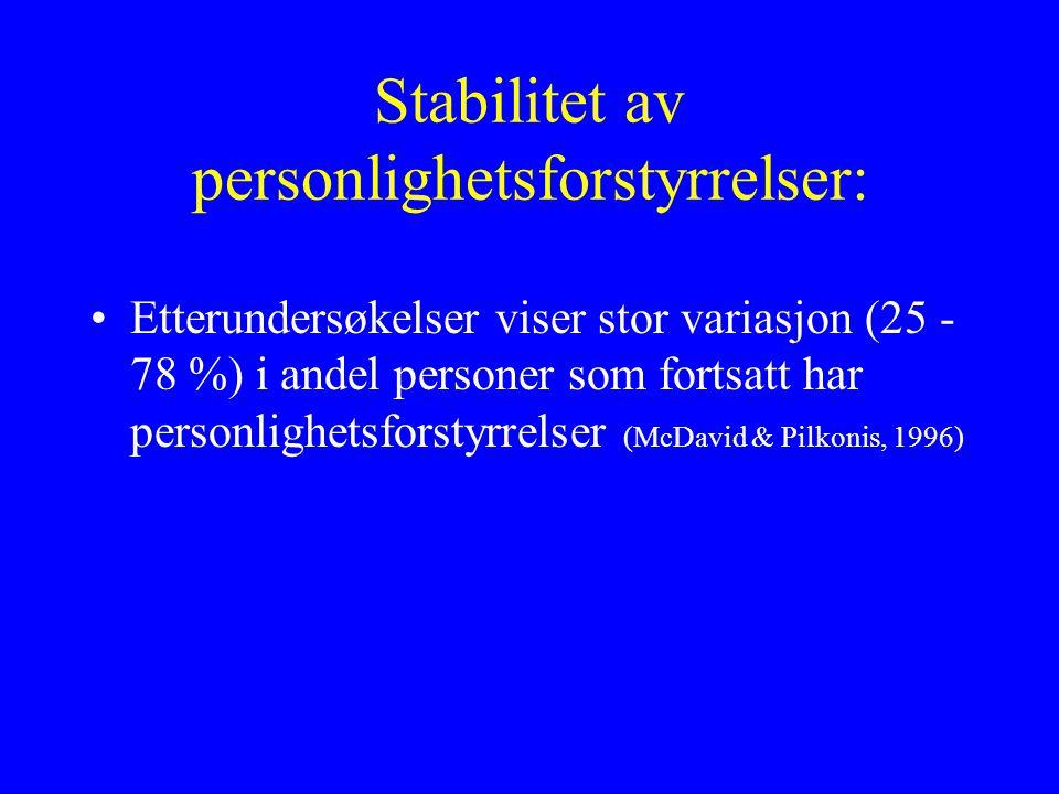 Stabilitet av personlighetsforstyrrelser: