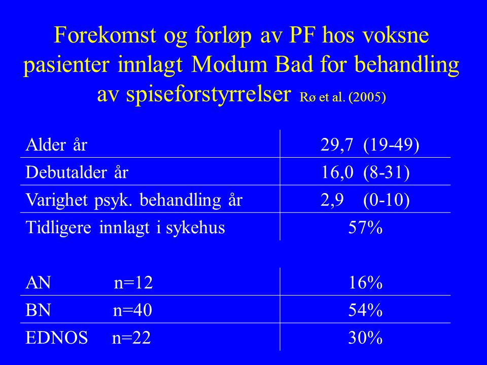 Forekomst og forløp av PF hos voksne pasienter innlagt Modum Bad for behandling av spiseforstyrrelser Rø et al. (2005)