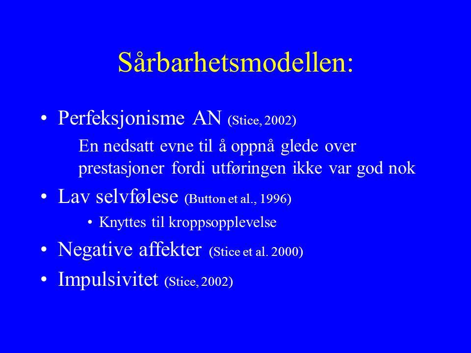 Sårbarhetsmodellen: Perfeksjonisme AN (Stice, 2002)