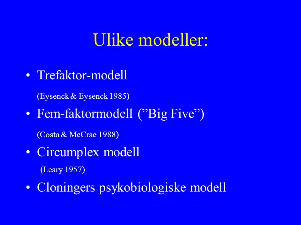 Ulike modeller: Trefaktor-modell (Eysenck & Eysenck 1985)