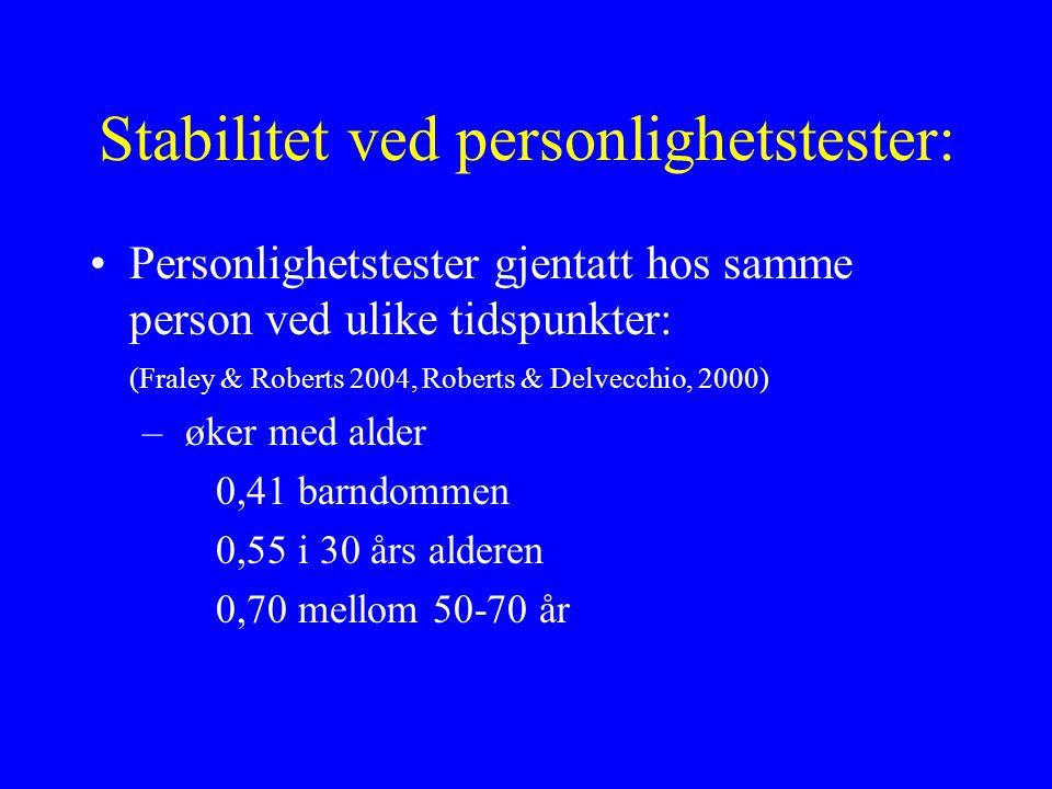 Stabilitet ved personlighetstester: