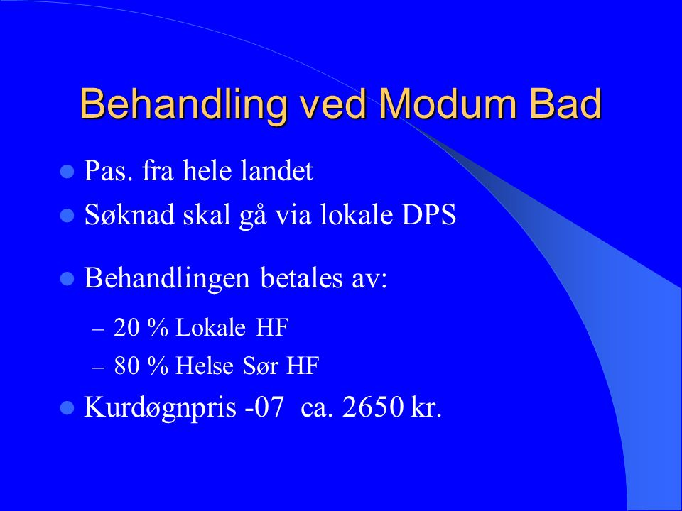 Behandling ved Modum Bad