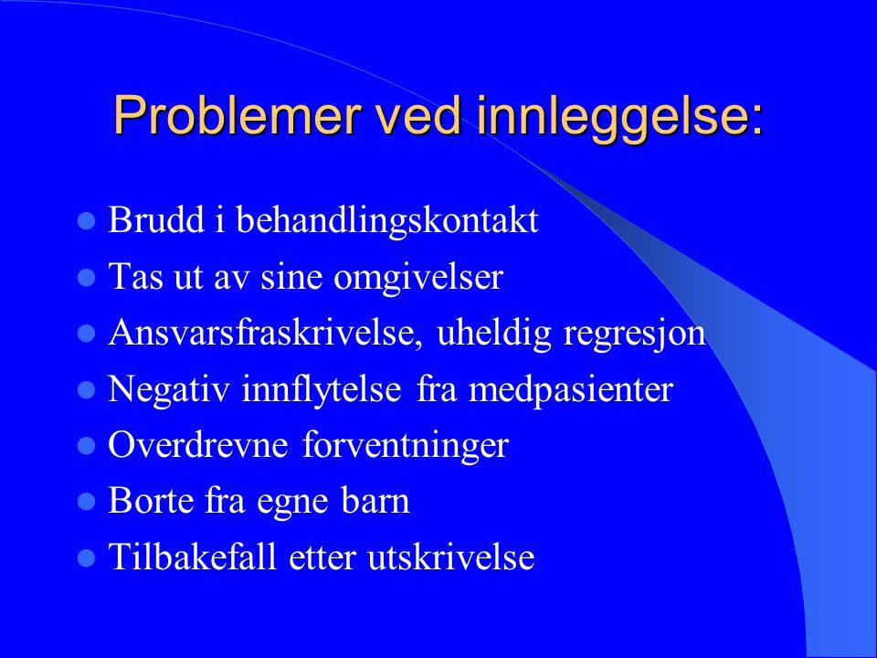 Problemer ved innleggelse: