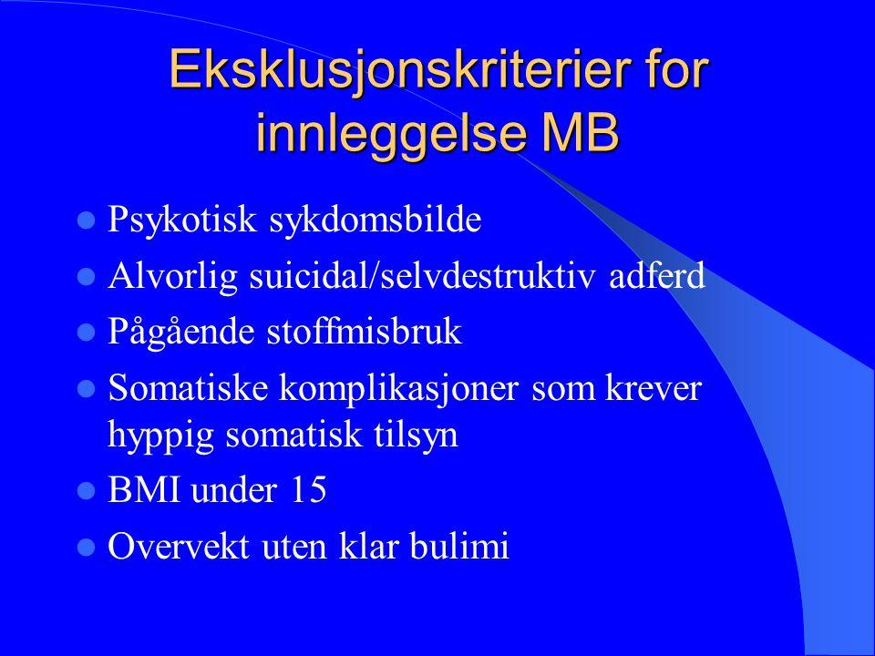 Eksklusjonskriterier for innleggelse MB