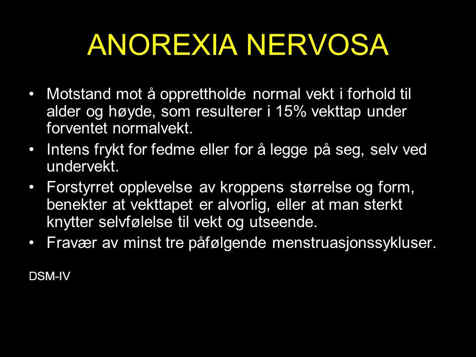 ANOREXIA NERVOSA Motstand mot å opprettholde normal vekt i forhold til alder og høyde, som resulterer i 15% vekttap under forventet normalvekt.