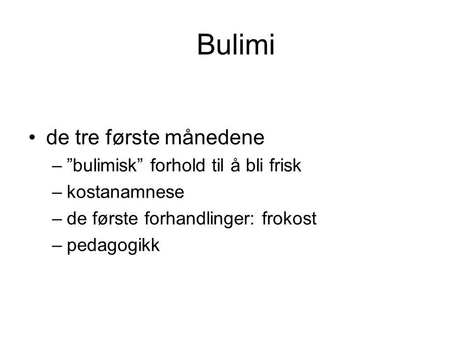Bulimi de tre første månedene bulimisk forhold til å bli frisk