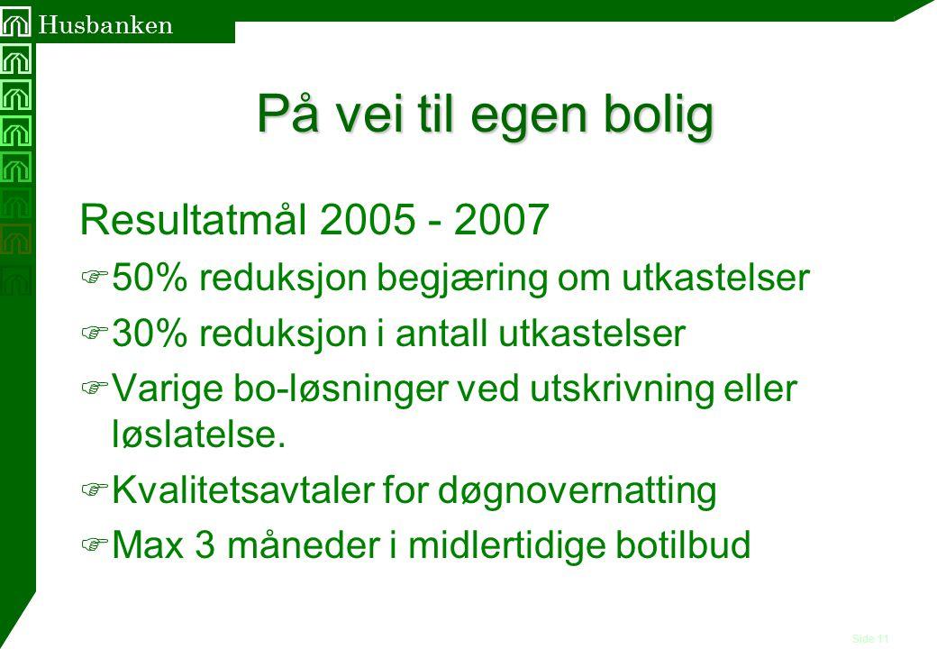 På vei til egen bolig Resultatmål 2005 - 2007