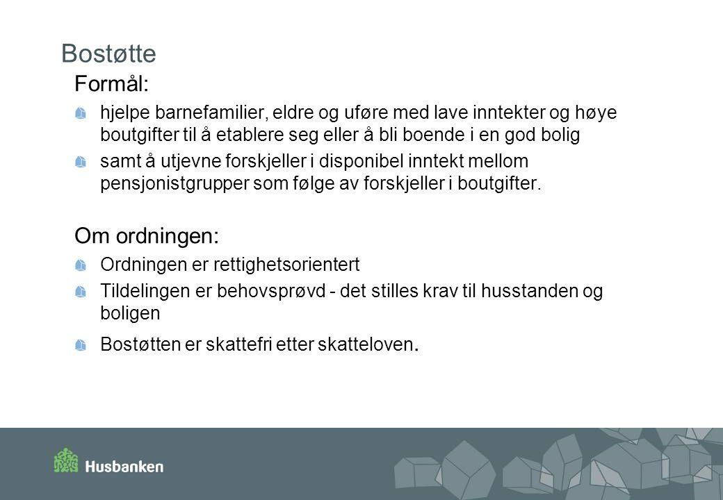 Bostøtte Formål: Om ordningen: