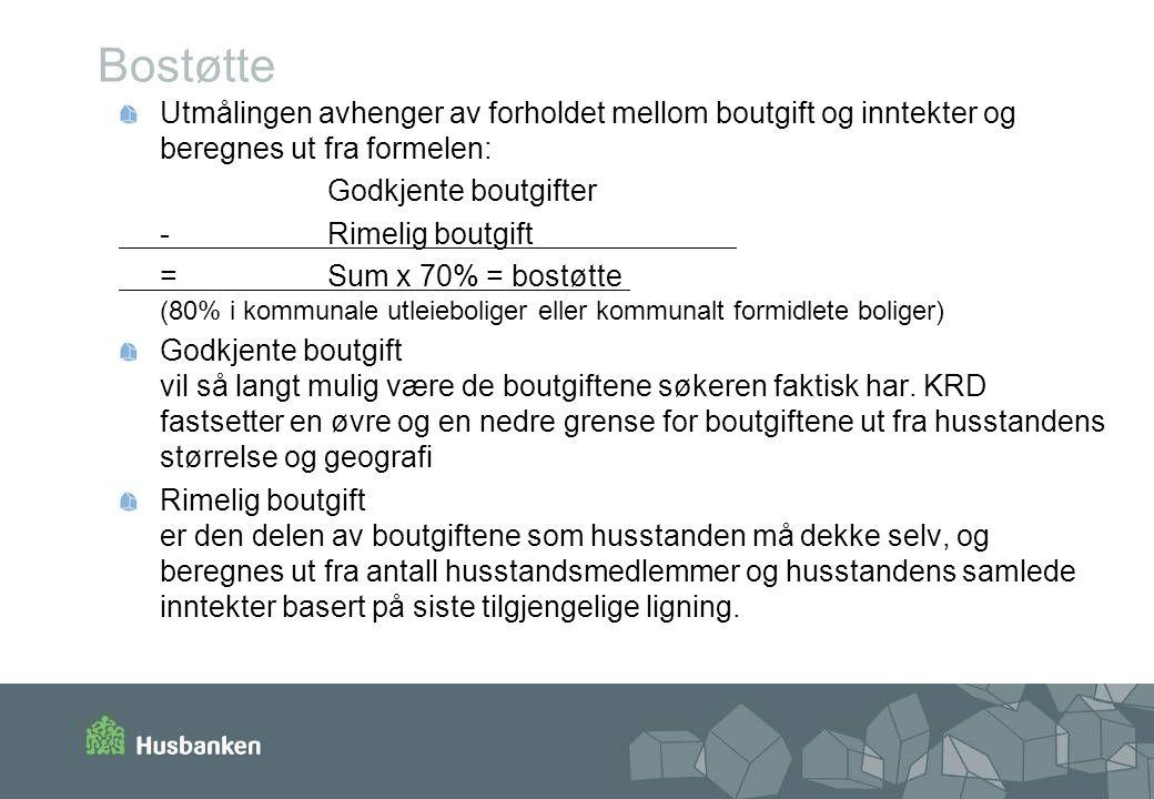 Bostøtte Utmålingen avhenger av forholdet mellom boutgift og inntekter og beregnes ut fra formelen: