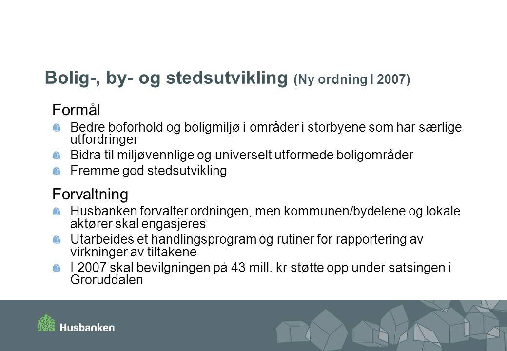 Bolig-, by- og stedsutvikling (Ny ordning I 2007)