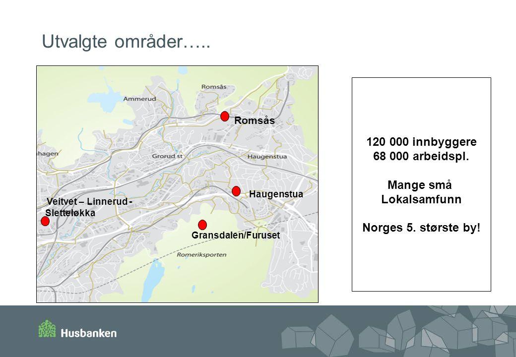 Utvalgte områder….. 120 000 innbyggere 68 000 arbeidspl. Mange små