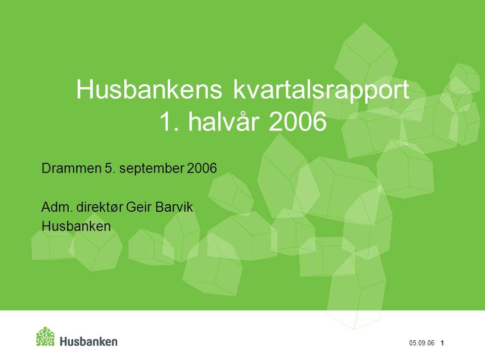 Husbankens kvartalsrapport 1. halvår 2006