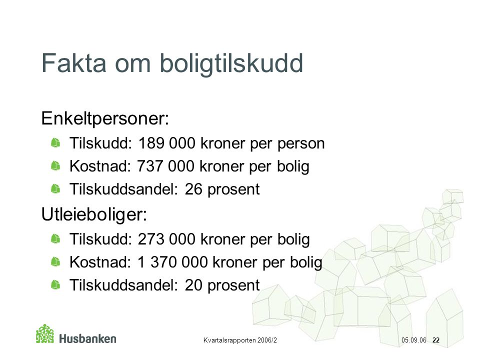 Fakta om boligtilskudd