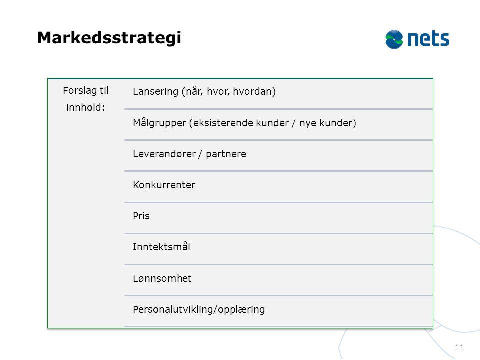 Markedsstrategi Forslag til innhold: Lansering (når, hvor, hvordan)