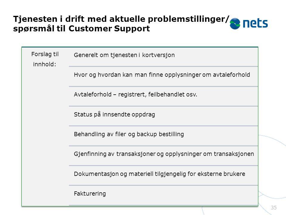 Tjenesten i drift med aktuelle problemstillinger/ spørsmål til Customer Support