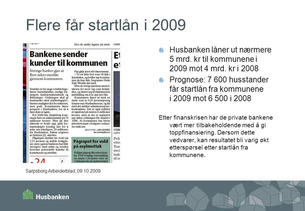 Flere får startlån i 2009 Husbanken låner ut nærmere 5 mrd. kr til kommunene i 2009 mot 4 mrd. kr i 2008.