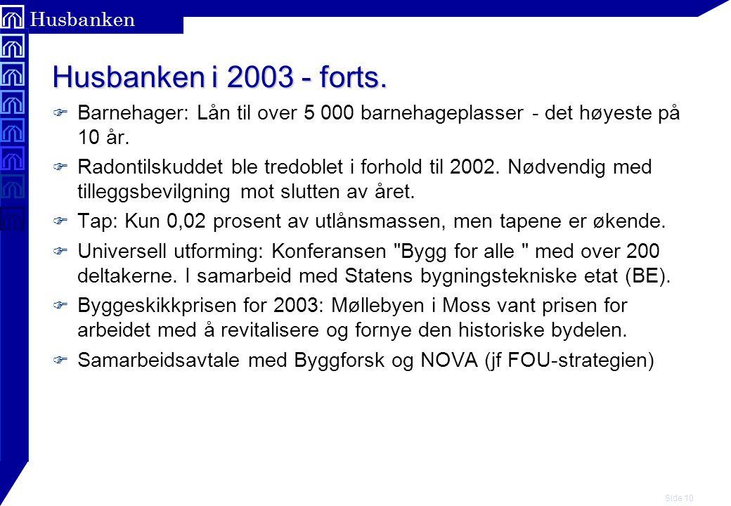 Husbanken i 2003 - forts. Barnehager: Lån til over 5 000 barnehageplasser - det høyeste på 10 år.