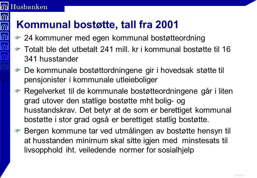 Kommunal bostøtte, tall fra 2001