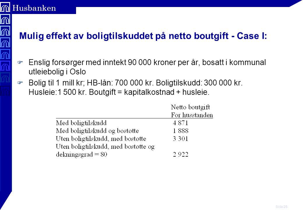 Mulig effekt av boligtilskuddet på netto boutgift - Case I: