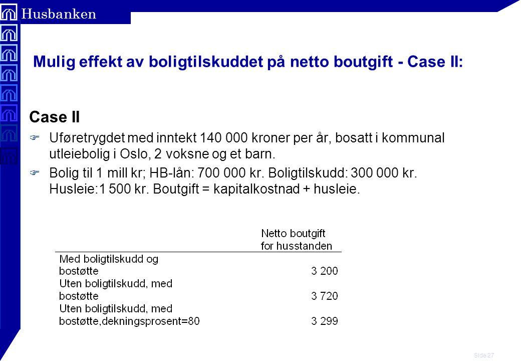 Mulig effekt av boligtilskuddet på netto boutgift - Case II:
