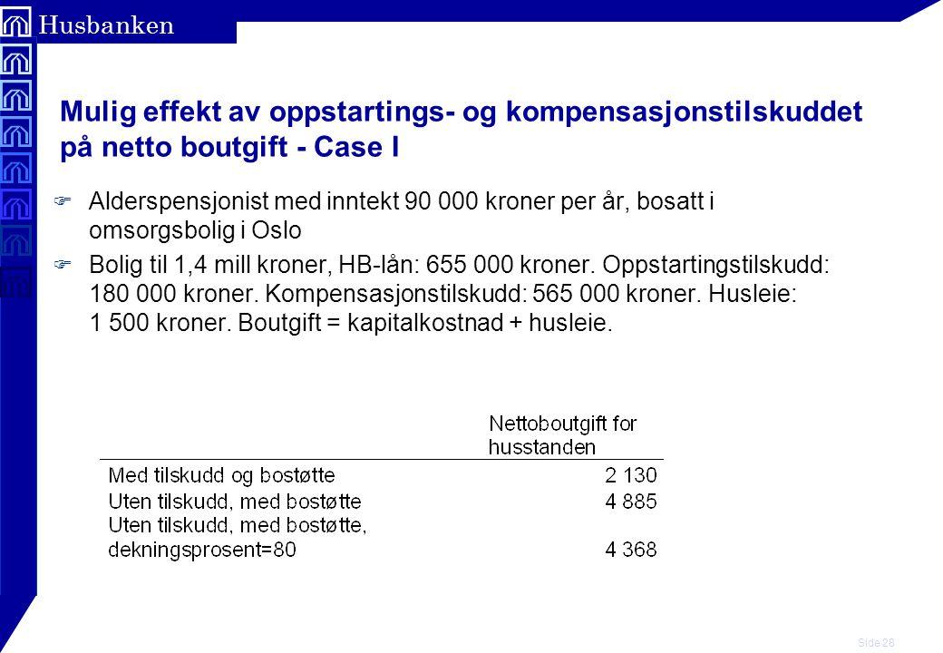 Mulig effekt av oppstartings- og kompensasjonstilskuddet på netto boutgift - Case I