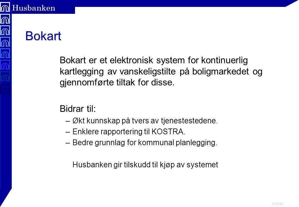 Bokart Bokart er et elektronisk system for kontinuerlig kartlegging av vanskeligstilte på boligmarkedet og gjennomførte tiltak for disse.