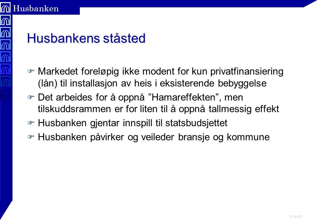 Husbankens ståsted Markedet foreløpig ikke modent for kun privatfinansiering (lån) til installasjon av heis i eksisterende bebyggelse.