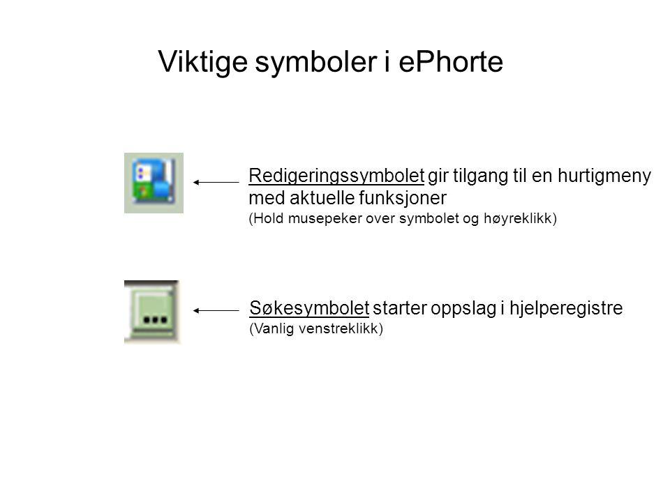 Viktige symboler i ePhorte