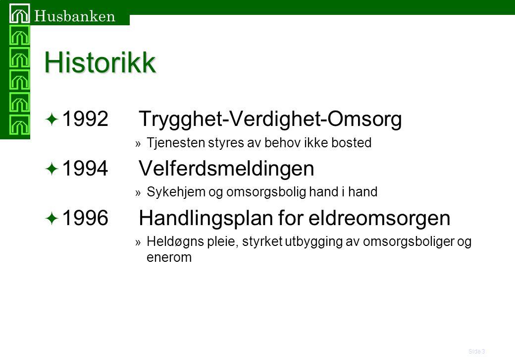 Historikk 1992 Trygghet-Verdighet-Omsorg 1994 Velferdsmeldingen