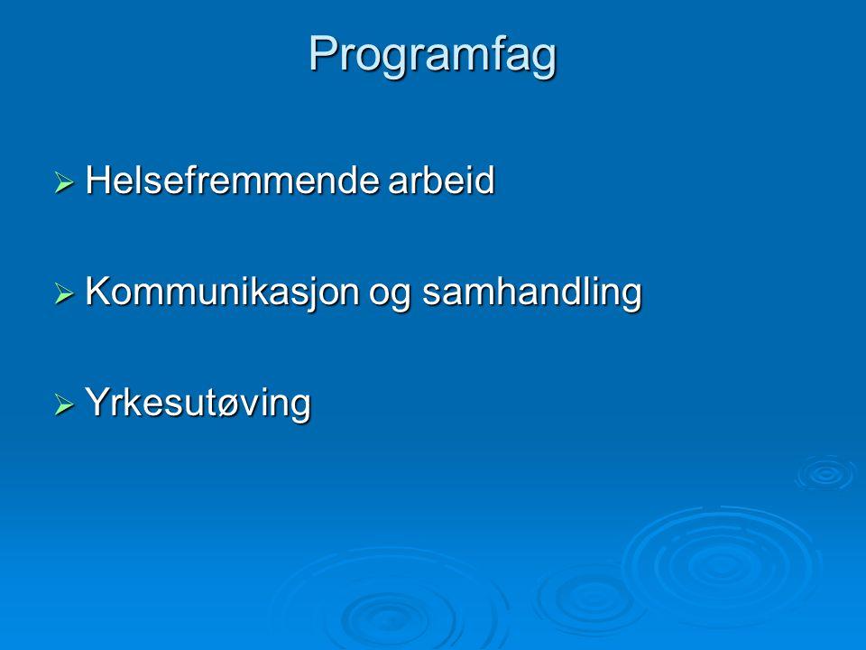 Programfag Helsefremmende arbeid Kommunikasjon og samhandling