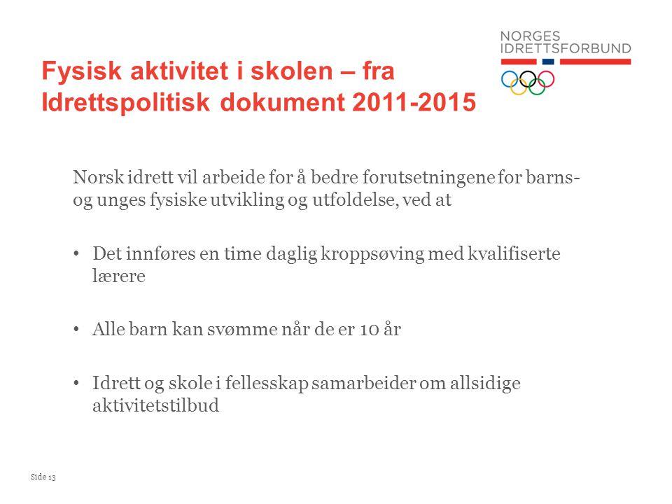 Fysisk aktivitet i skolen – fra Idrettspolitisk dokument 2011-2015
