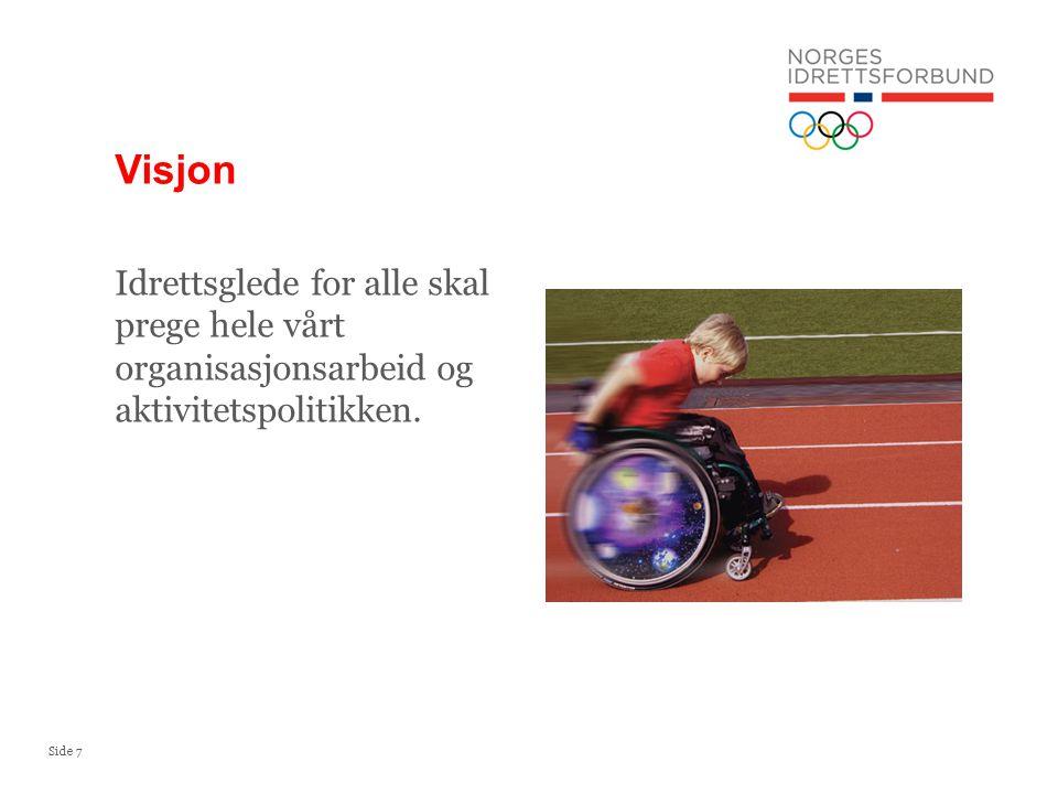 Visjon Idrettsglede for alle skal prege hele vårt organisasjonsarbeid og aktivitetspolitikken.
