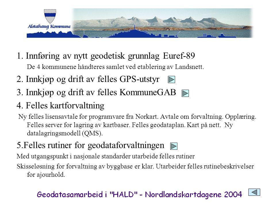 1. Innføring av nytt geodetisk grunnlag Euref-89