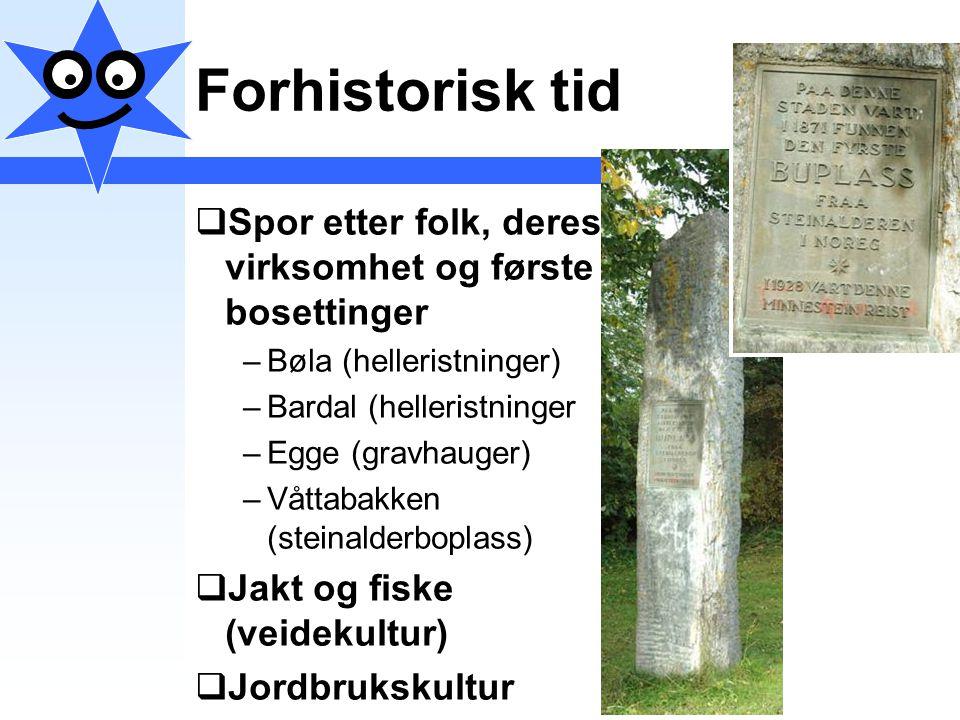 Forhistorisk tid Spor etter folk, deres virksomhet og første bosettinger. Bøla (helleristninger) Bardal (helleristninger.
