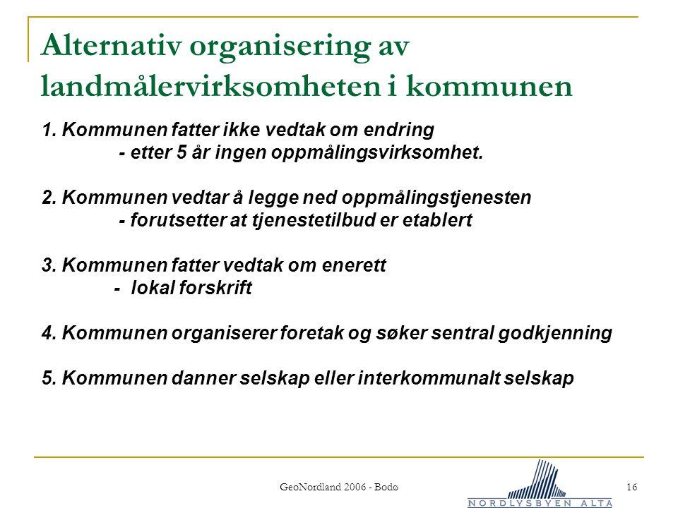 Alternativ organisering av landmålervirksomheten i kommunen