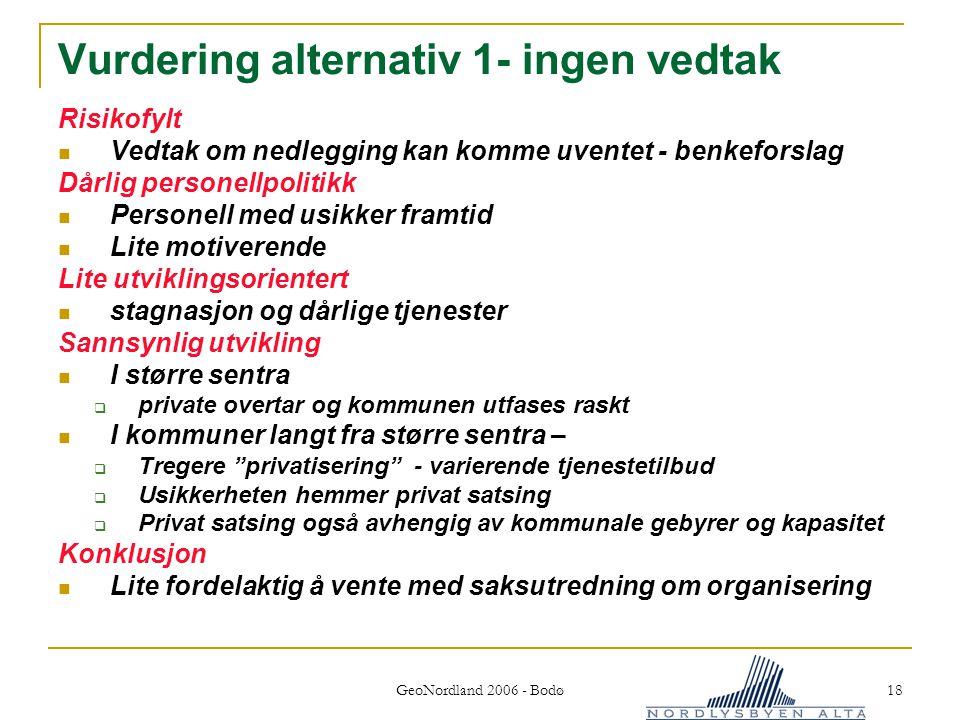 Vurdering alternativ 1- ingen vedtak