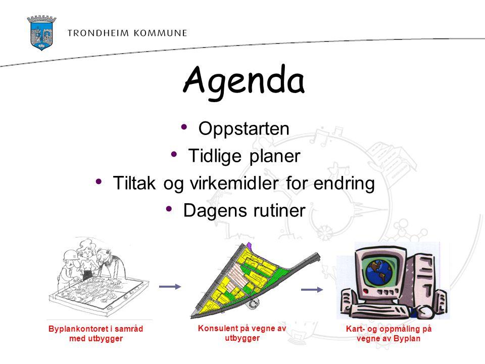 Agenda Oppstarten Tidlige planer Tiltak og virkemidler for endring