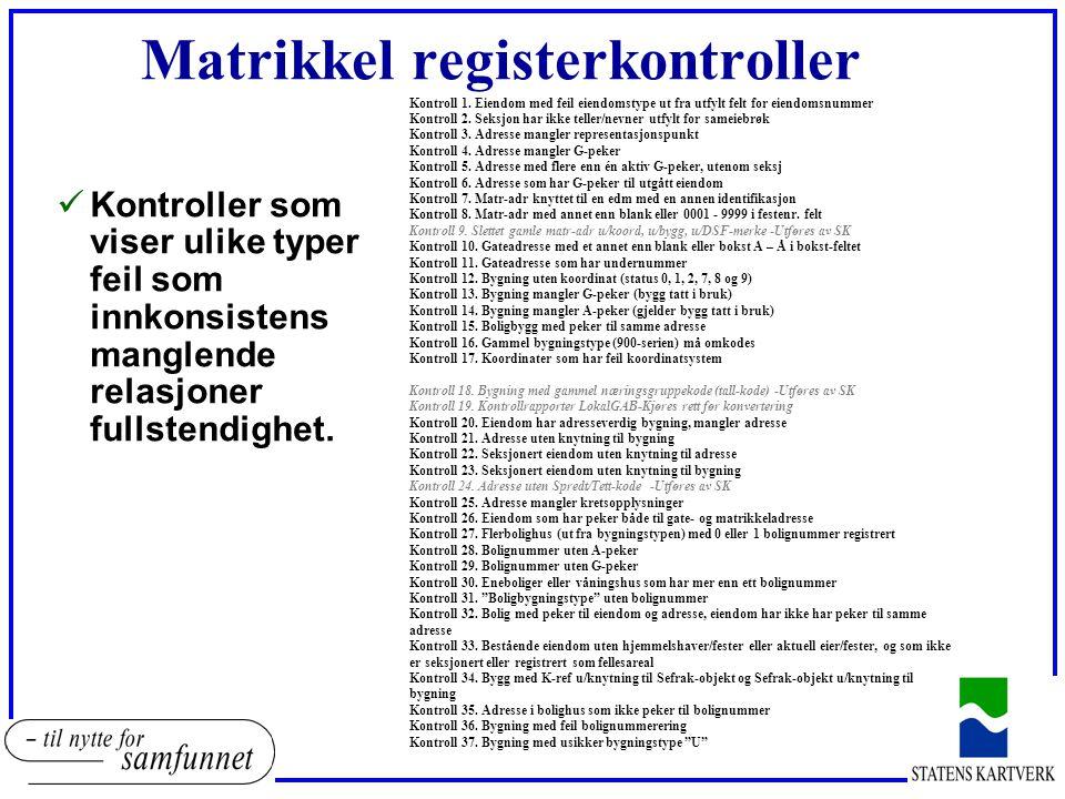 Matrikkel registerkontroller