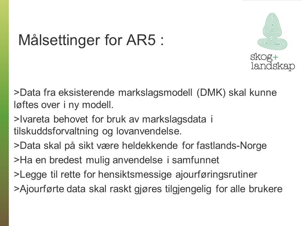 Målsettinger for AR5 : Data fra eksisterende markslagsmodell (DMK) skal kunne løftes over i ny modell.
