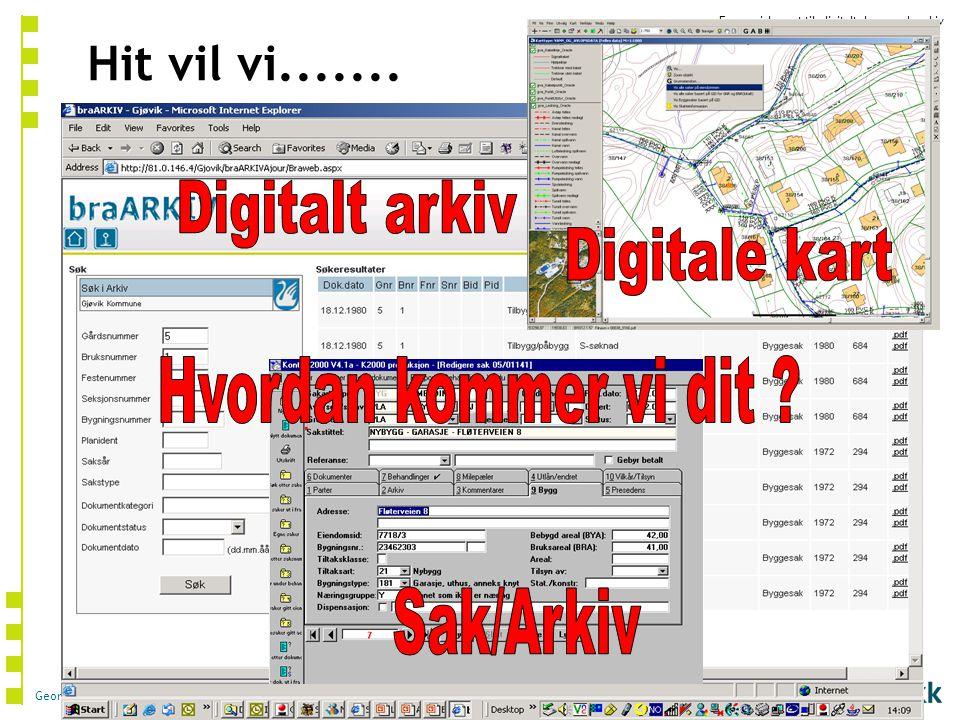 Digitale kart Hit vil vi....... Digitalt arkiv Hvordan kommer vi dit Sak/Arkiv