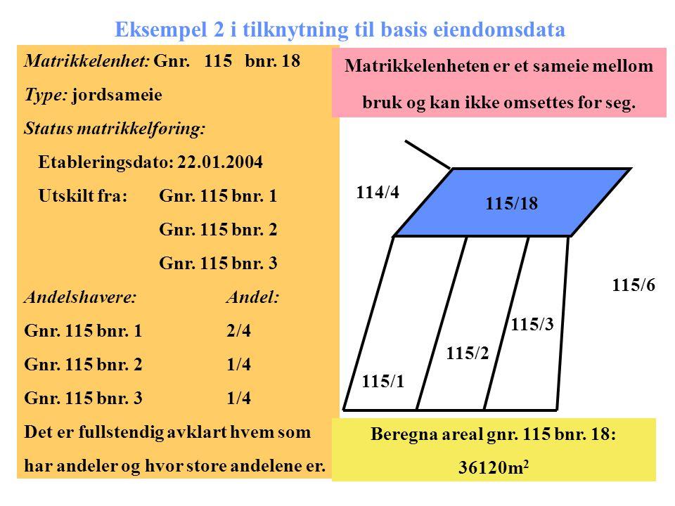 Eksempel 2 i tilknytning til basis eiendomsdata