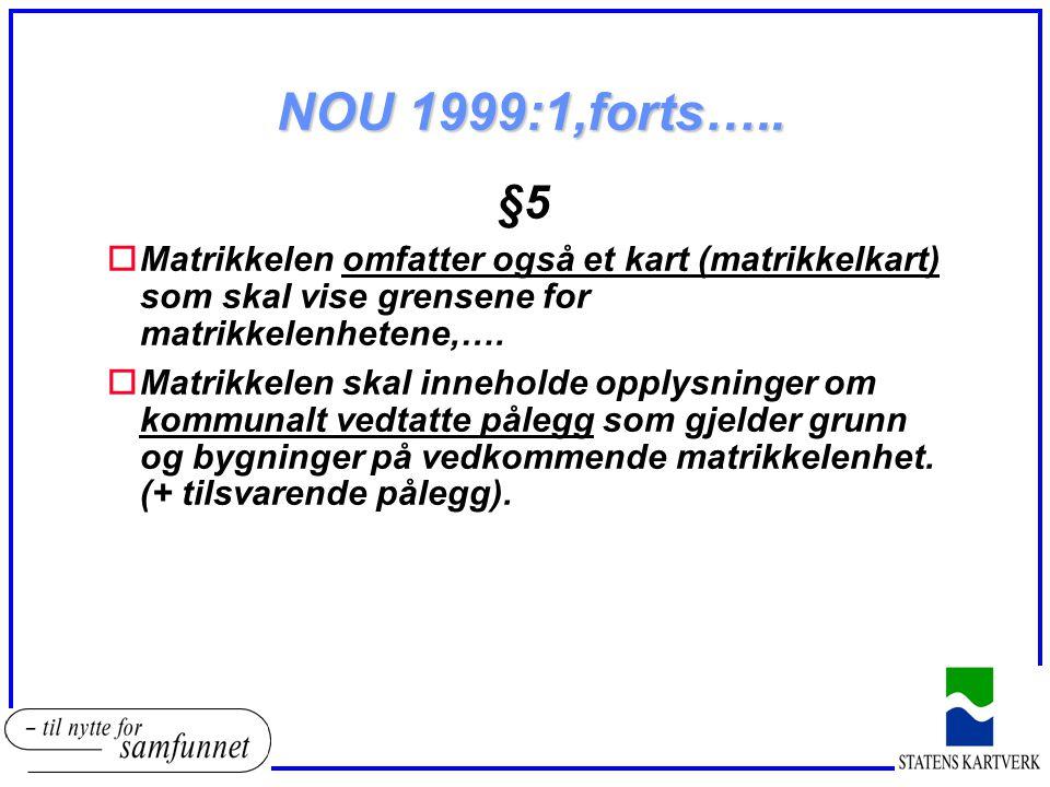 NOU 1999:1,forts….. §5. Matrikkelen omfatter også et kart (matrikkelkart) som skal vise grensene for matrikkelenhetene,….