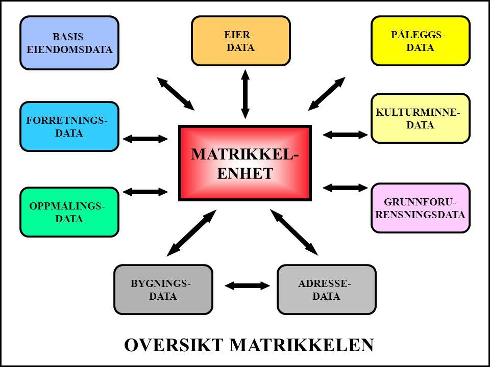 OVERSIKT MATRIKKELEN MATRIKKEL- ENHET BASIS EIENDOMSDATA EIER- DATA
